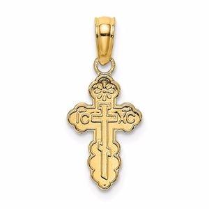 14K Mini Eastern Orthodox Cross Charm
